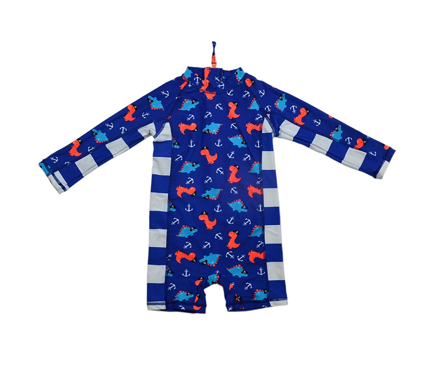 SUNOUTLET Kids Boy's UPF 50+ Sun Protection L/S One Piece Zip Sunsuit Free Sun Hat HX Sunsuit