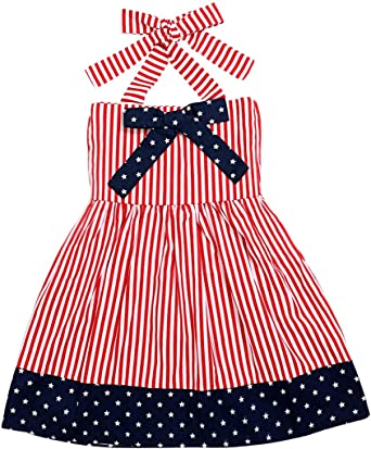 Baby Girls Toddler Kids 4th Of July Star L Dress Clothes Sundress Casual Dress