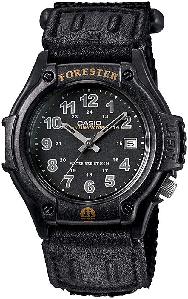 Casio FT500WC-1BV Men's Forester Illuminator LED Light Black Dial Velcro Band Analog Watch