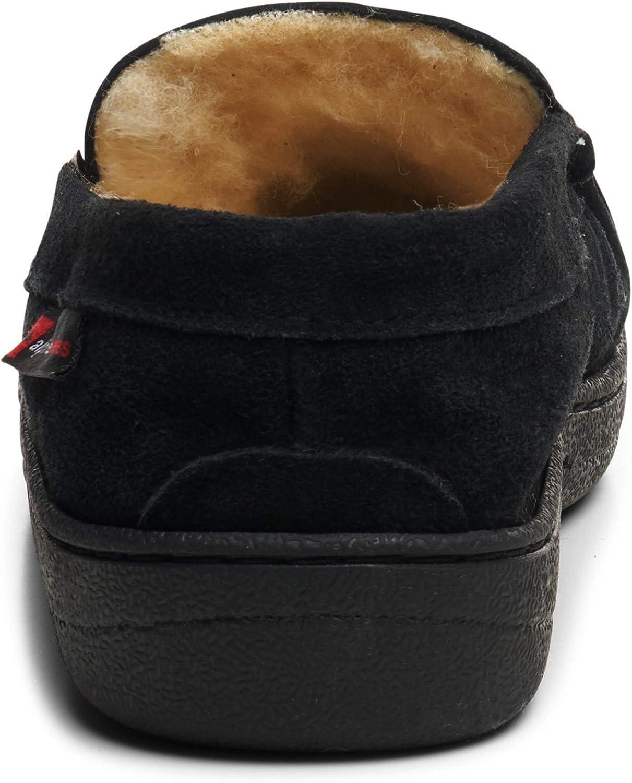 Alpine Swiss Yukon Mens Genuine Suede Shearling Slip On Moccasin Slippers