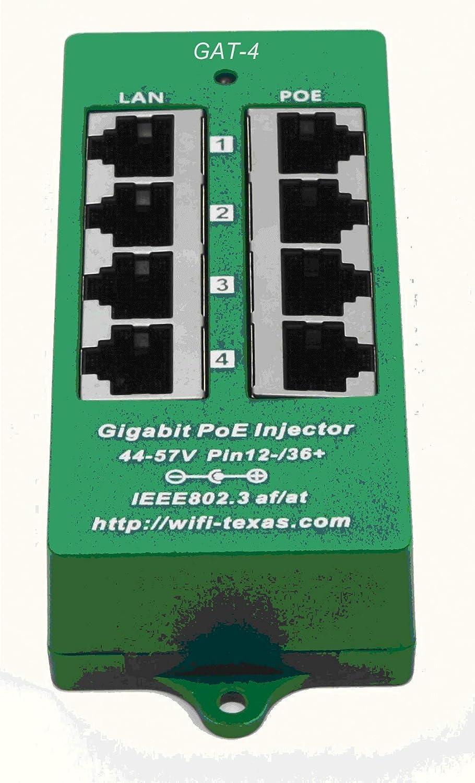 WT-GAT-4, 4 Puertos Gigabit 802.3at / PoE + inyector de negociación automática - Fuente de alimentación sin incluida