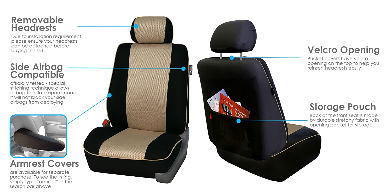 Truck or Van FH GROUP FH-FB063115 Full Set Sports Fabric Car Seat Covers Solid Black Fit Most Car Suv Airbag compatible and Split Bench