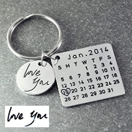 JEWH Fathers Day- Personalized Calendar Keychain- Signature Calendar Key Chain Hand Stamped Calendar-