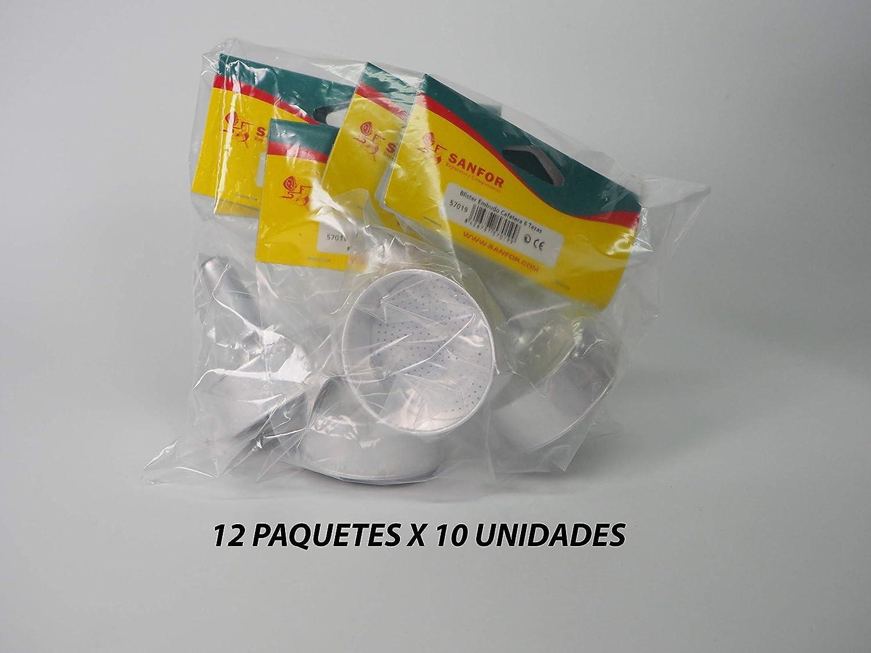 Sanfor 80531 Caja 120 Blíster embudo cafetera aluminio O.L. 6 tazas (12 paquetes de 10 unidades), PLATEADO: Amazon.es: Hogar