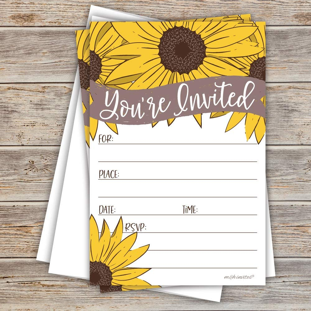 - Fall Autumn Invites Rustic Sunflower on Barn Wood Design Fill in The Blank Party Invitations Baby Shower 20 Count with Envelopes Birthday Bridal Shower All Occasion