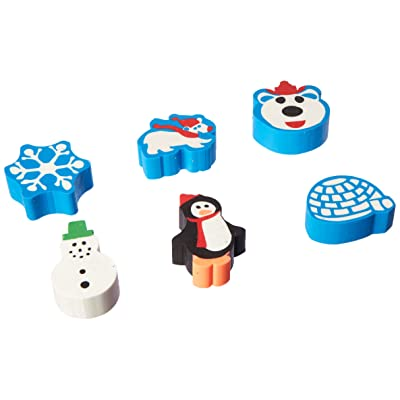 amscan Christmas-Themed Winter Fun Erasers, 12 Ct. | Party Favor: Toys & Games