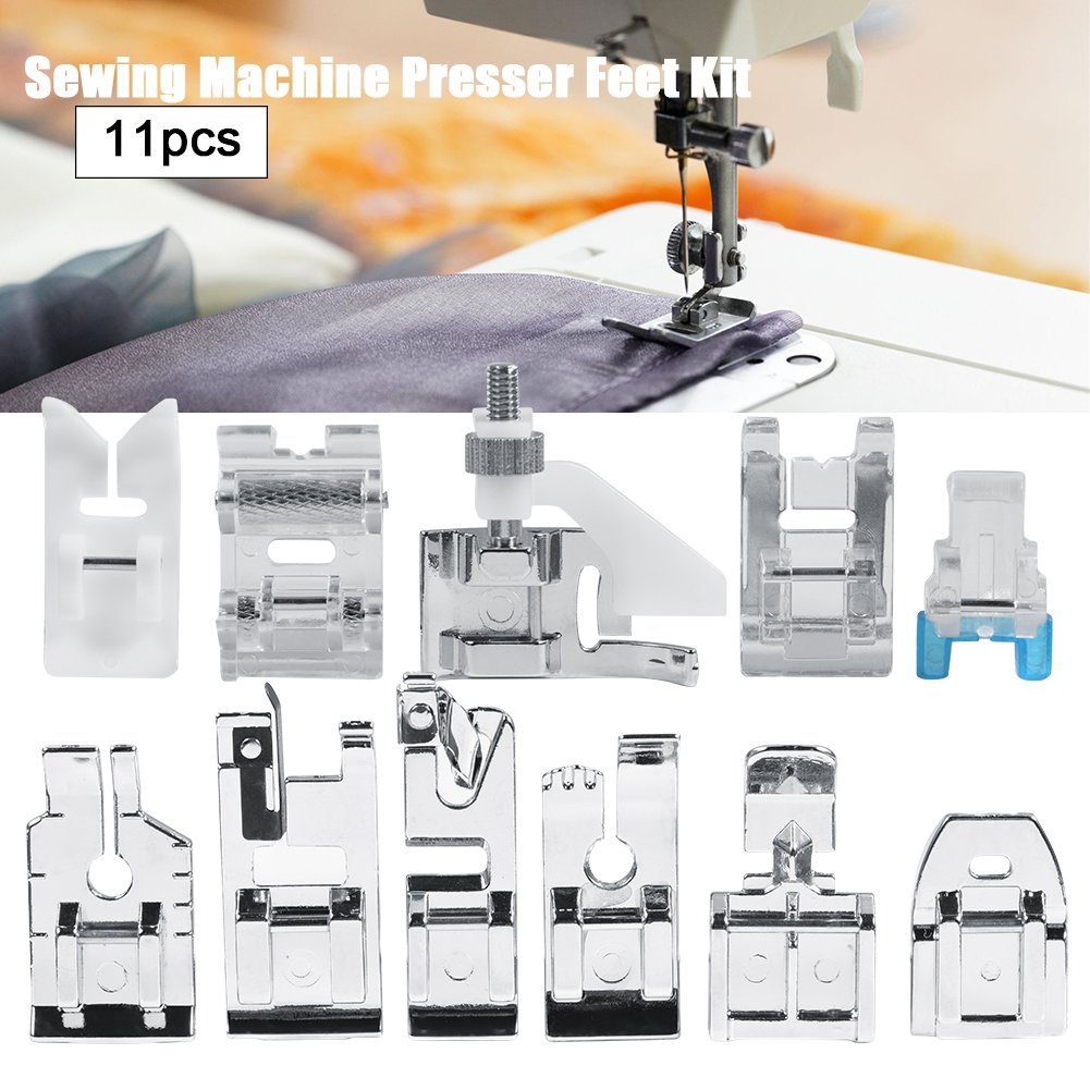 Máquina de coser prensatelas, Kit de 11 pcs multifuncional prensatelas para maquina de coser Presser Foot Feet Kit Machines Set: Amazon.es: Hogar
