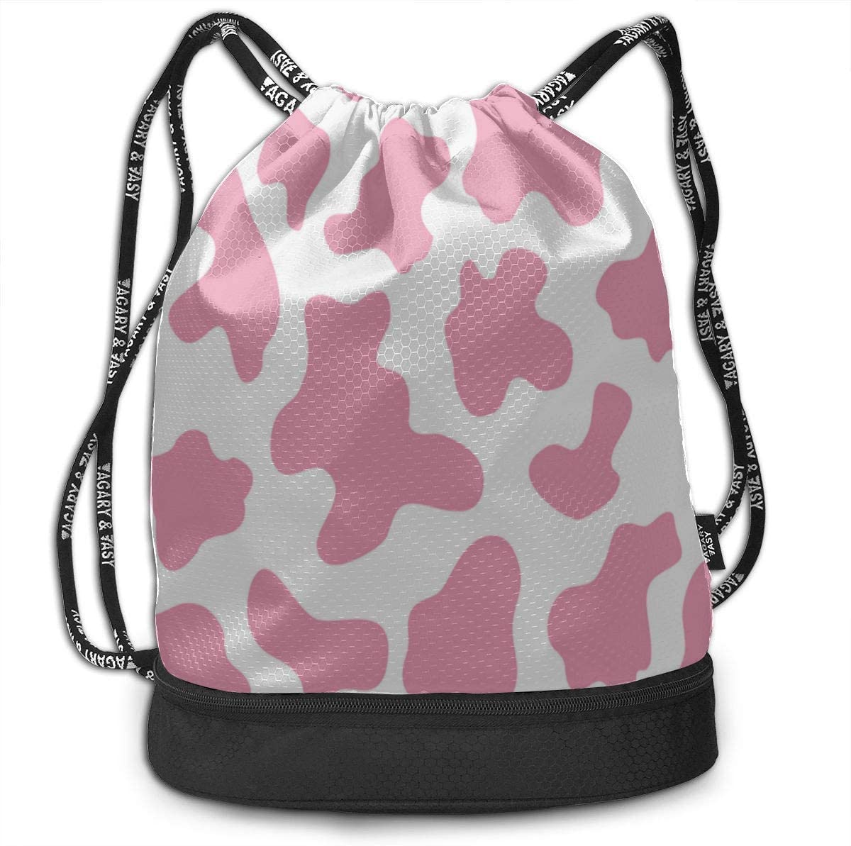 Funny Bag For Women Printed Cow Spots Abstract Art Gym Drawstring Bags Backpack Sports String Bundle Backpack For Sport With Shoe Pocket Gym Small Bag For Women