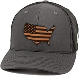 3668429f15b Branded Bills 'Patriot' Leather Patch Hat Curved Trucker
