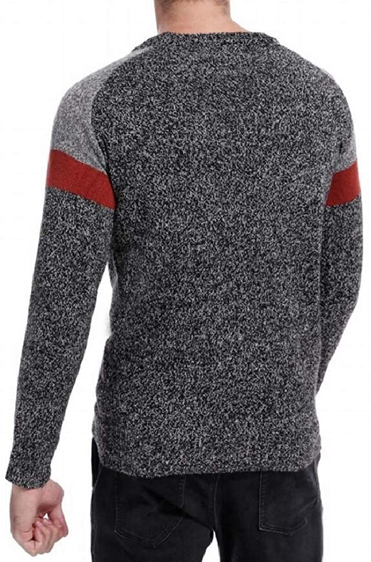 Fensajomon Mens Warm Winter Color Blocked Hollow Out Long Sleeve Round Neck Pullover Sweaters