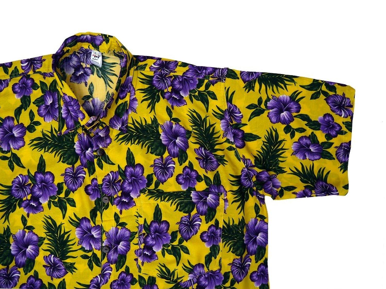 Hawaiihemd Hawai Freizeit Hemd Shirt Viskose gelb Hibiskus violett:  Amazon.de: Bekleidung