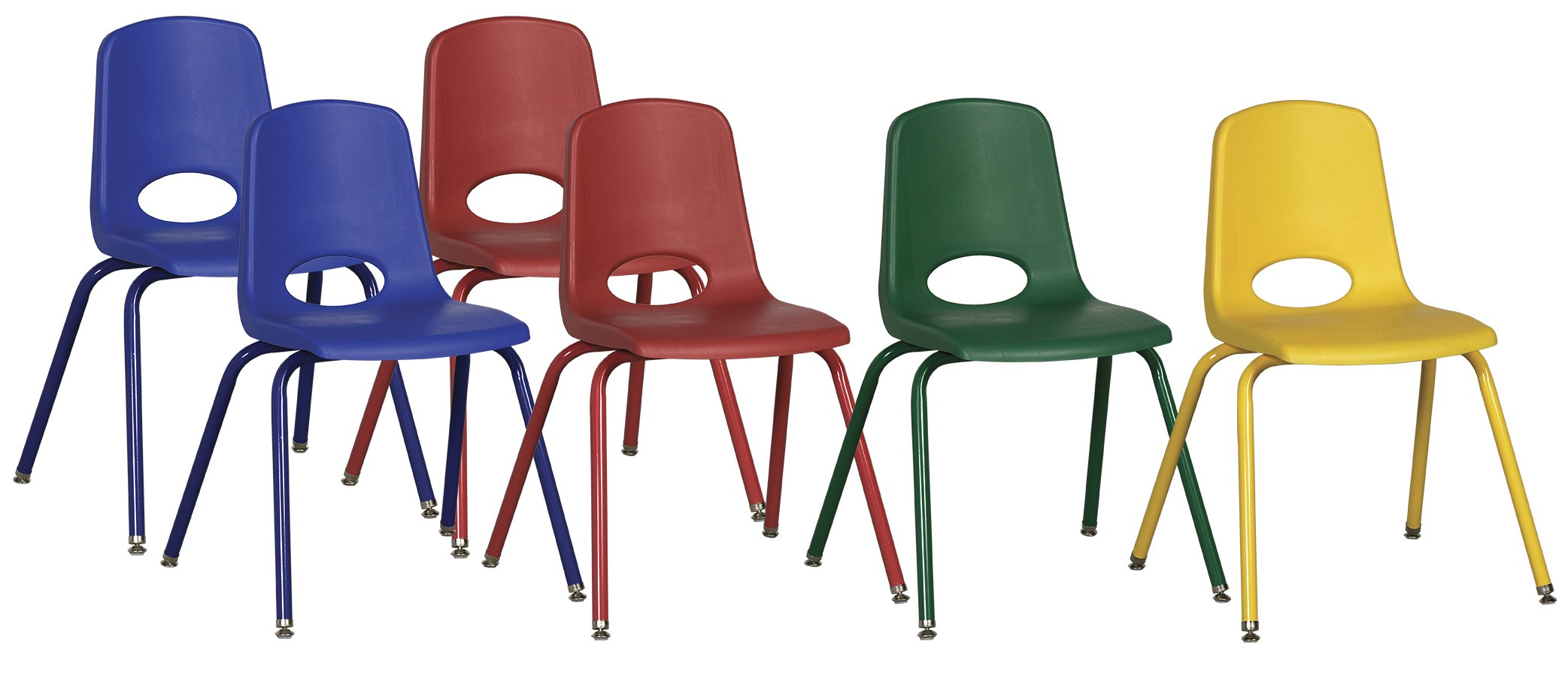ECR4Kids 16'' School Stack Chair, Powder Coated Legs and Nylon Swivel Glides, Assorted (6-Pack)