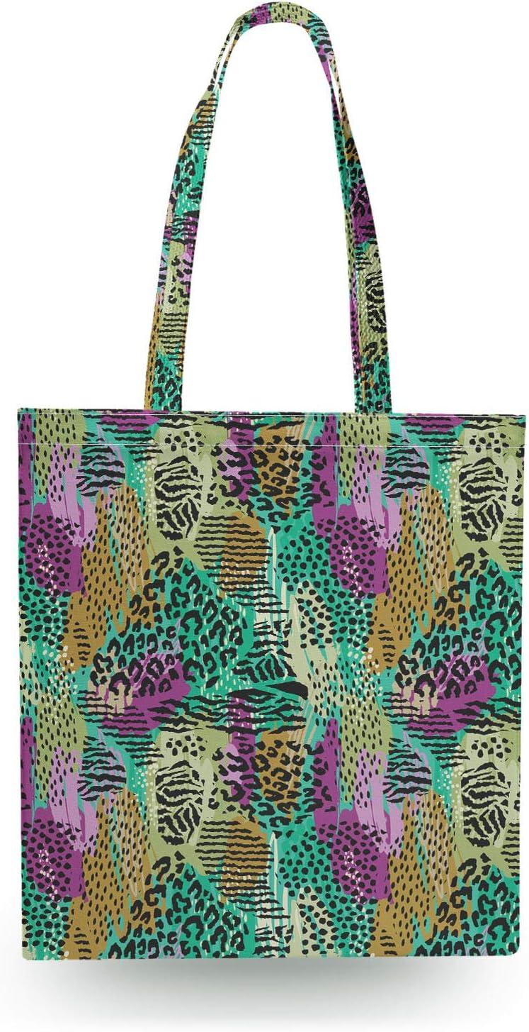 Canvas Tote Bag Purple /& Green Animal Print