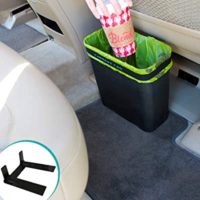 Carbage Can Premium Car Trash Can w/ Floor Mat Clip and Bag Securement Band: Automotive