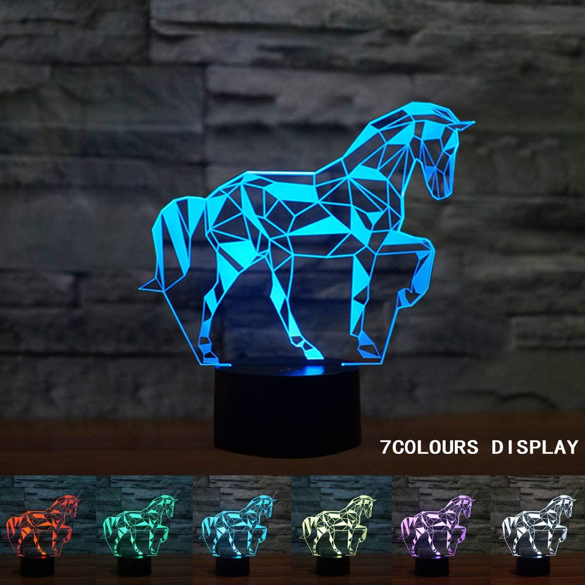Coolzon 3D Led Lamparas de Mesilla de Noche luz Noche Infantil 7 Cambiar el Color botón táctil Caballo Lampara Noche niños Decoracion Habitacion Juvenil [Clase de eficiencia energética A+]