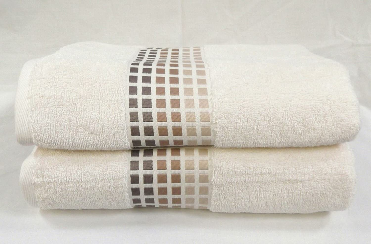 Sally Mosaic Hand Towels One Pair 2 Cream Mocha Brown Squares Bathroom Super Soft 100 Cotton Hallways Amazon Co Uk Kitchen Home