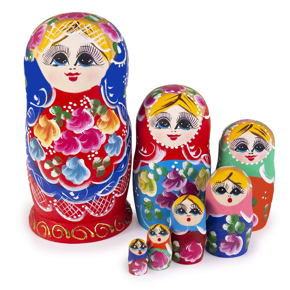 Jeccffes Russian Nesting Dolls Matryoshka Wooden Stacking Nested Set 7 Pieces Red Flower Girl Handmade Toy for Kids Children Christmas Mother's Day Birthday Home Room Decoration Halloween Wishing Gift by Jeccffes