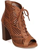Delicious FI58 Women Leatherette Peep Toe Lace Up Cut Out Chunky Heel Bootie - Cognac