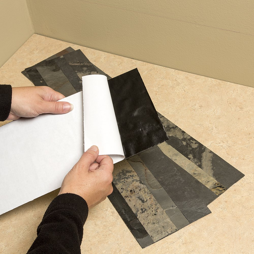 Aspect 6 x 24 inch autumn sandstone peel and stick stone backsplash - Amazon Com Aspect Peel And Stick Stone Overlay Kitchen Backsplash Medley Slate 5 9 X 23 6 X 1 8 Panel Approx 1 Sq Ft Easy Diy Tile Backsplash