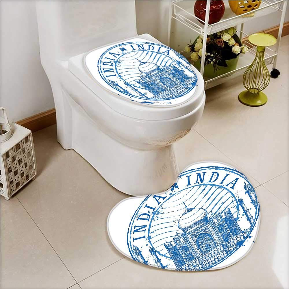 PRUNUS Non Slip Bathroom Heart shaped foot pad Taj Mahal in India on White Background Emblem Like Ink Blue and White Non Slip Comfortable Snd Soft