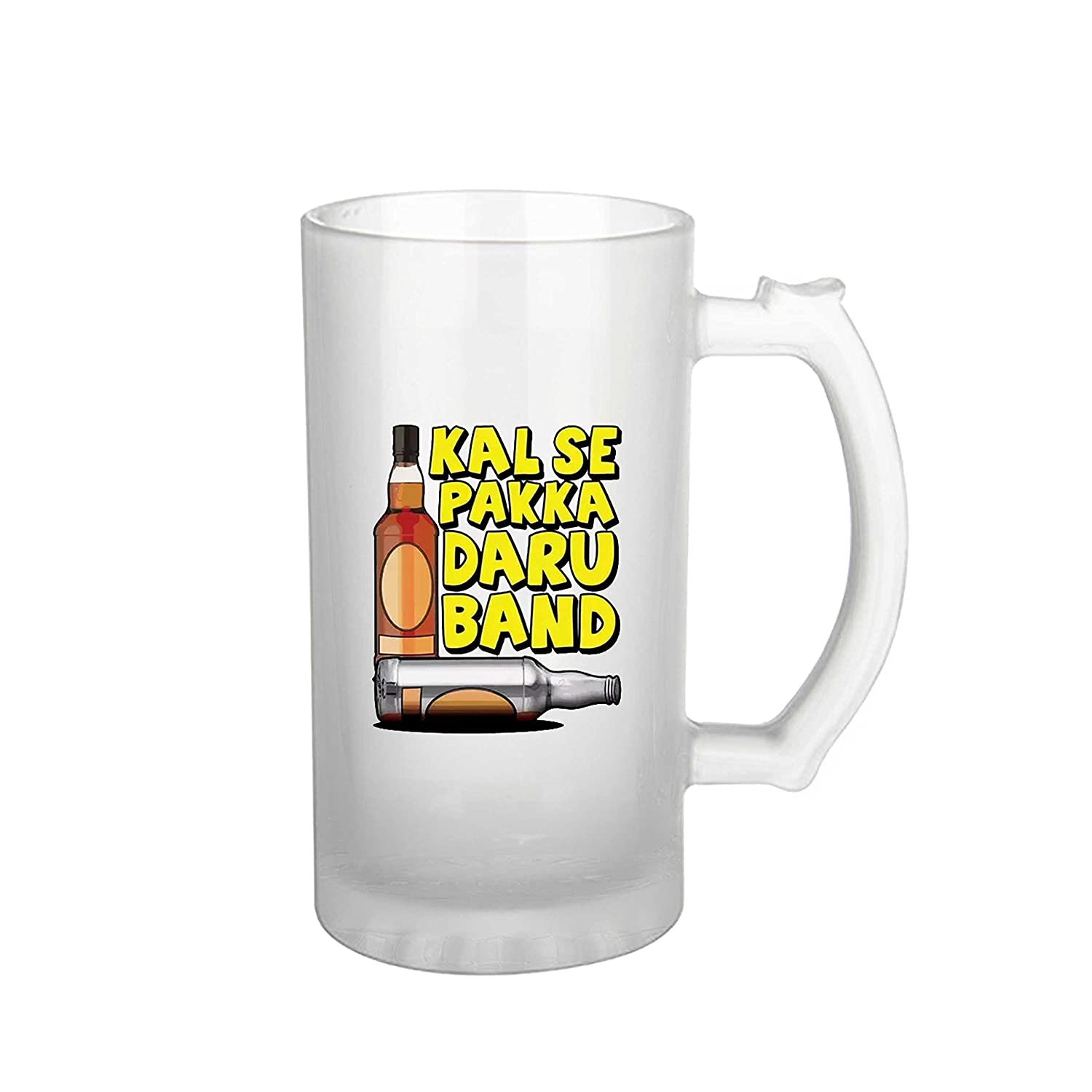1989d9095 Buy iKraft Kal Se Pakka Daru Band Quote Printed Beer Mug- 16 oz Frosted  Beer Mug for Gifting Online at Low Prices in India - Amazon.in