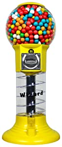 """Gumball Machine 27"""" Set Up for $0.25 Gumballs 1 inch Toys in Round Capsules 1"""" Bouncy Balls 25mm YELLOW Spiral Vending Gum Machine Great Gumball Machines Gift for Kids Bubble Gum Machine Without Stand"""