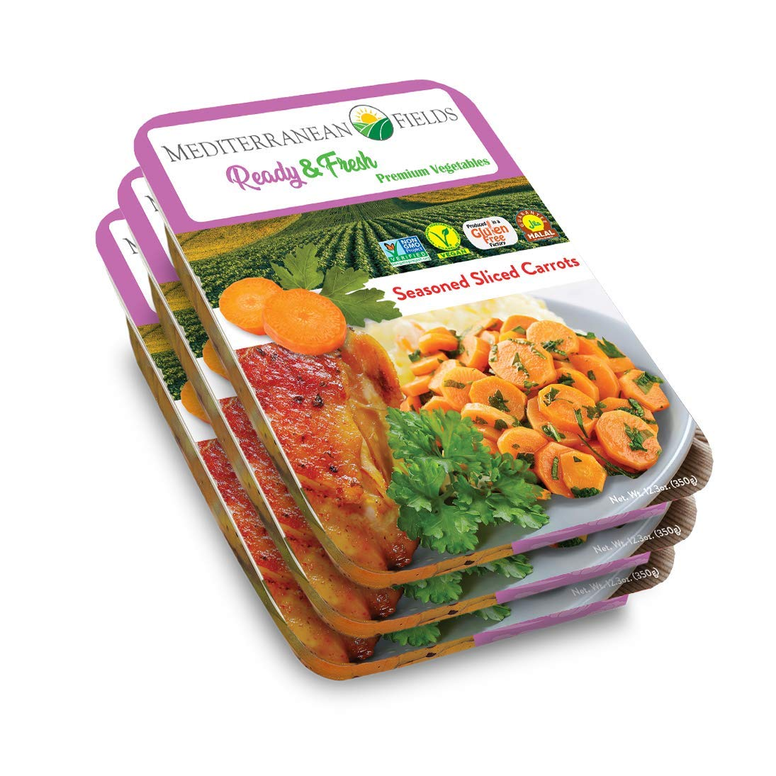 Ready Fresh Packaged Vegetables & Meals, Seasoned Sliced Carrots - 3 Pack. All Natural, Vegan, Plant Based, Non GMO, Keto Friendly, and Gluten Free