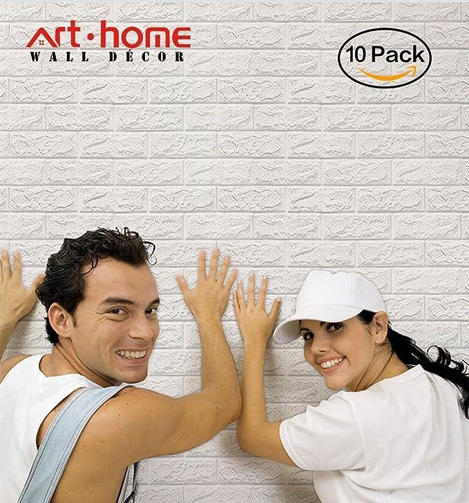 5 opinioni per Arthome 3D Carta da Parati Mattoni Bianco,3d Muro Pannelli, 3d Muro Adesivi
