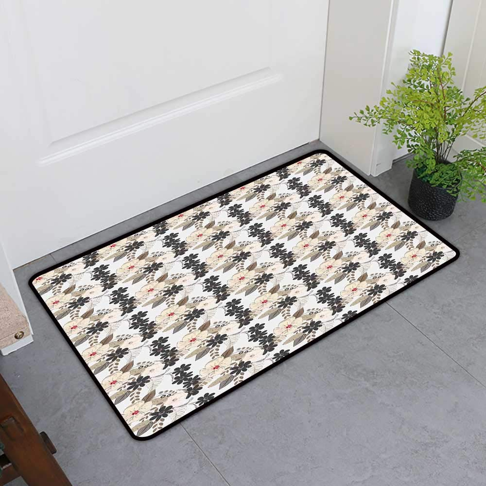 Custom&blanket Door Mat Extra Large, Garden Art Decorative Imdoor Rugs for Office, Nostalgic Abstract Bloom Flowers Vintage Style Bouquet with Leaves (Tan Cream Charcoal Grey, H36 x W60)