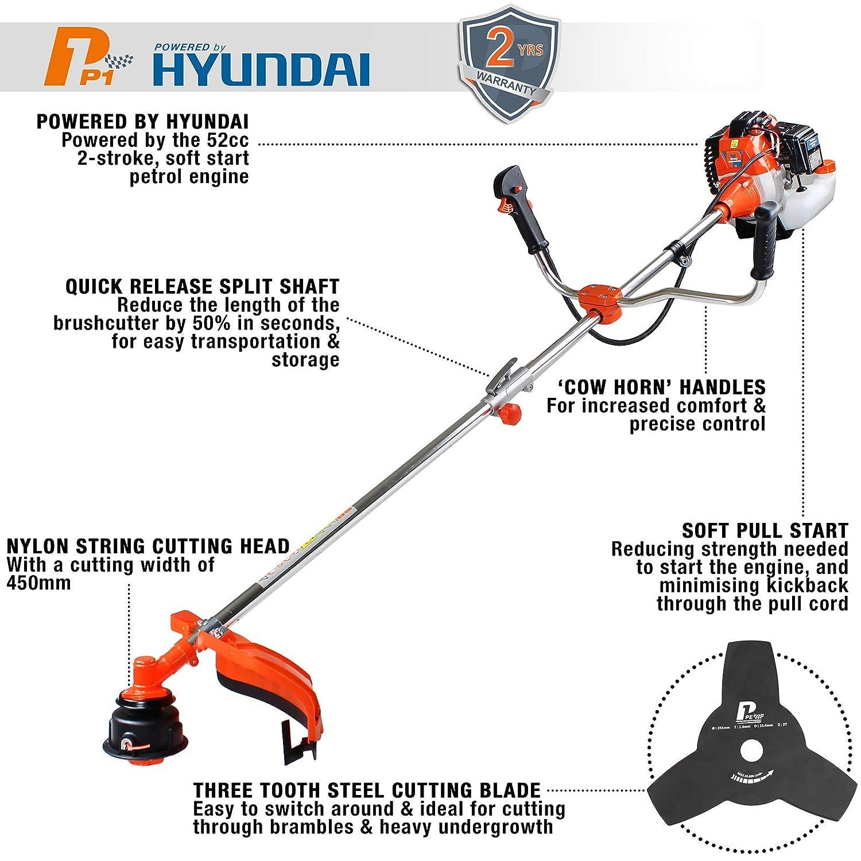 P1pe P5200bc Petrol Grass Trimmer 52 Cc Hyundai Engine Orange Diagram Diy Tools