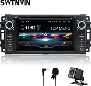 SWTNVIN Android 9.0 Car Stereo Navigation for Jeep Wrangler Dodge Chrysler 2GB RAM 32GB ROM HD Touch Screen Multimedia Indash DVD Player Support GPS Bluetooth WiFi teering Wheel with Backup Camera