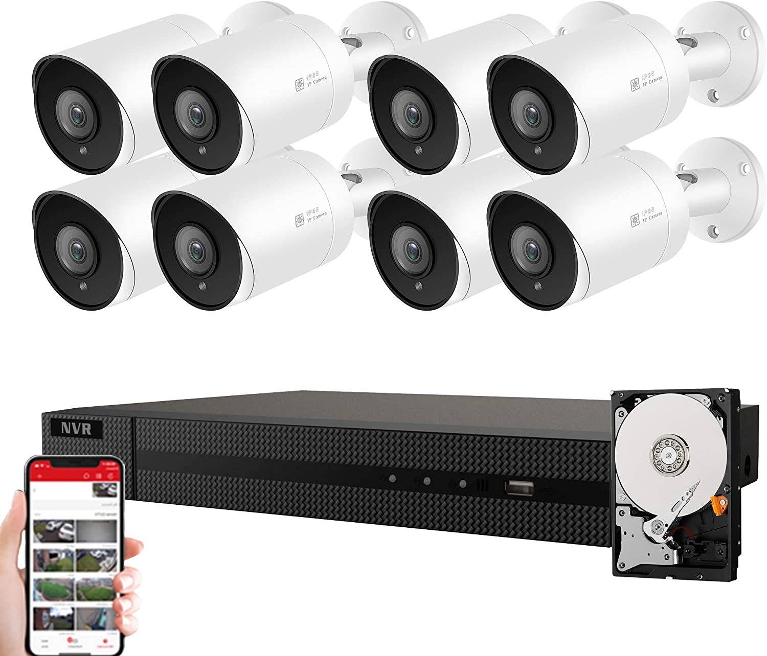 Anpviz 5MP IP POE Security Camera System, 16CH 4K H.265 NVR with 4TB HDD with (8) 5MP Outdoor IP POE Bullet Cameras Home Security System with Audio, 98ft Night Vision, IVMS4200, Hik-Connect