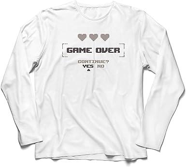 lepni.me Camiseta de Manga Larga para Hombre Game Over ...
