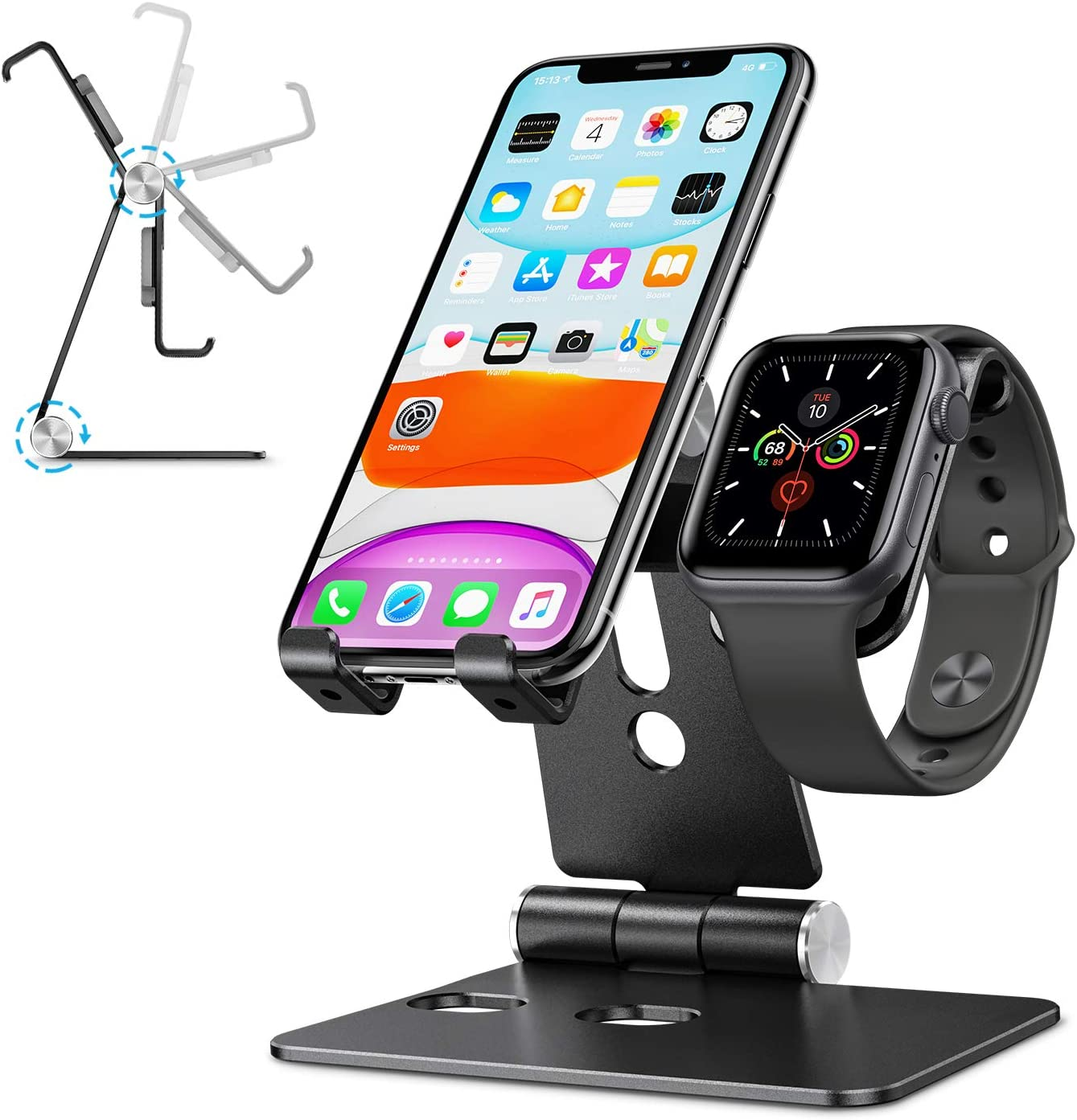Apple Watch Charger Stand Accessories - OMOTON 2 in 1 Aluminum Foldable Desktop Charging Stand Holder Dock for nightstand Desk,Suit for Apple Watch SE/6/5/4/3/2/1, iPhone and Smart Phones, Black