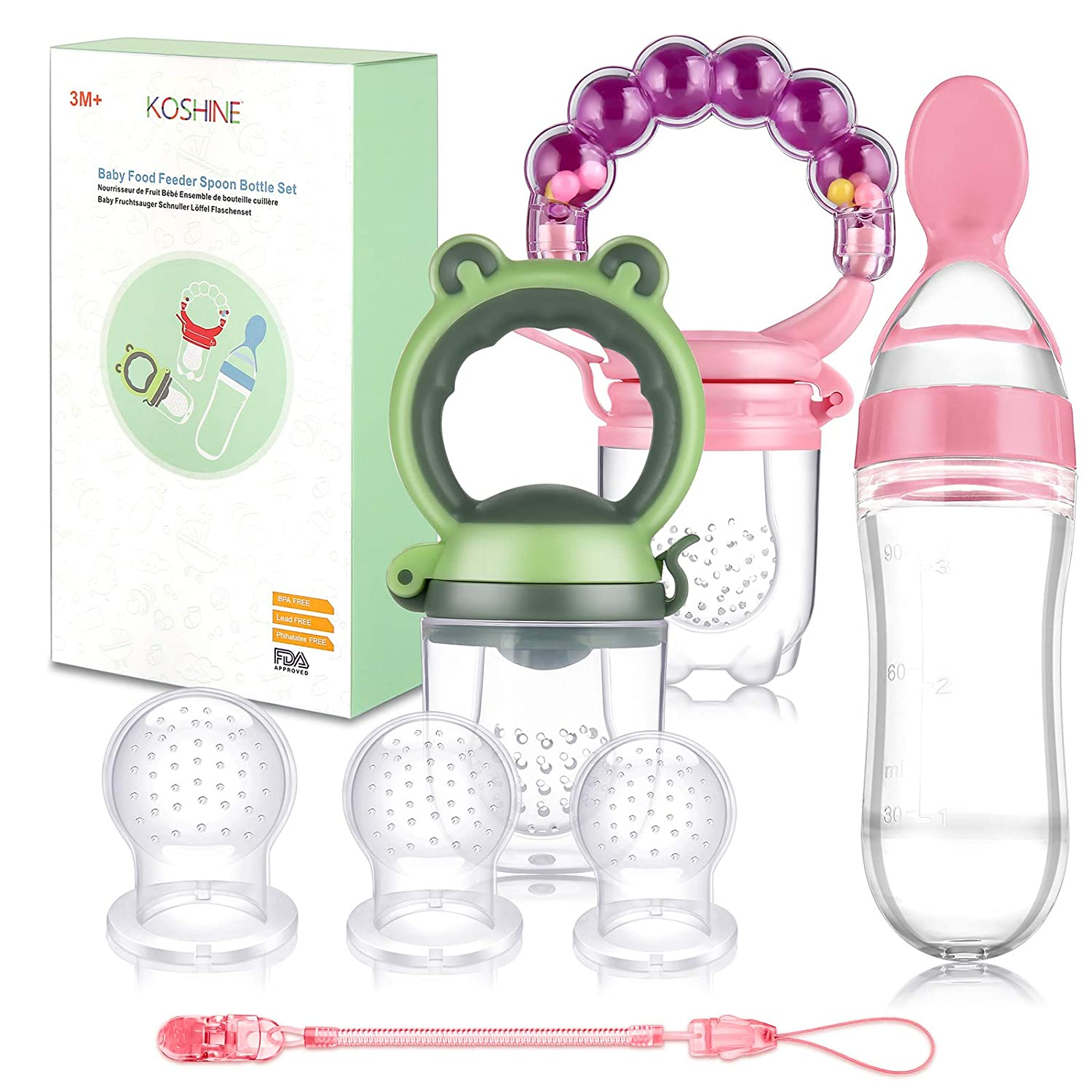 Baby Fruit Feeder Infant Food Rattle Pacifier Squeeze Bottle Spoon Set (Pink)