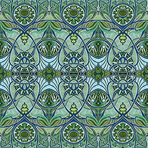 Stained Glass Fabric Victorian Gothic (Aqua/Olive Negative) by Edsel2084 Printed on Faux Suede Fabric by the Yard by Spoonflower - Stained Glass Fabric