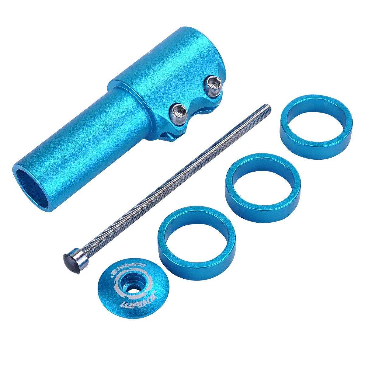 Trenztek Bike Handlebar Riser Bicyle Fork Stem Extender Head Up Raiser Aluminum Alloy (Blue)