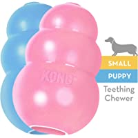 KONG Puppy Toy Natural Teething Rubber -Fun to Chew, Chase & Fetch- For Small Puppies (Color May Vary)