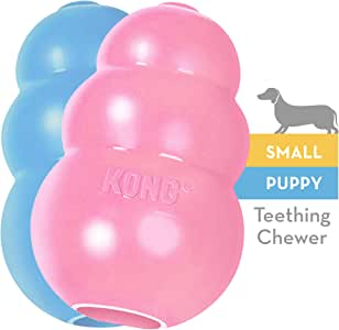 KONG - Puppy Toy - Natural Teething Rubber - Fun to Chew, Chase and Fetch - for Small Puppies (Colour May Vary)
