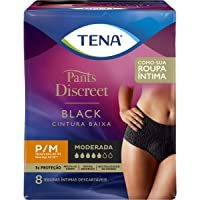 Calcinha Descartável Tena Pants Discreet Black P/M 8 Unidades, Tena, pacote de 8