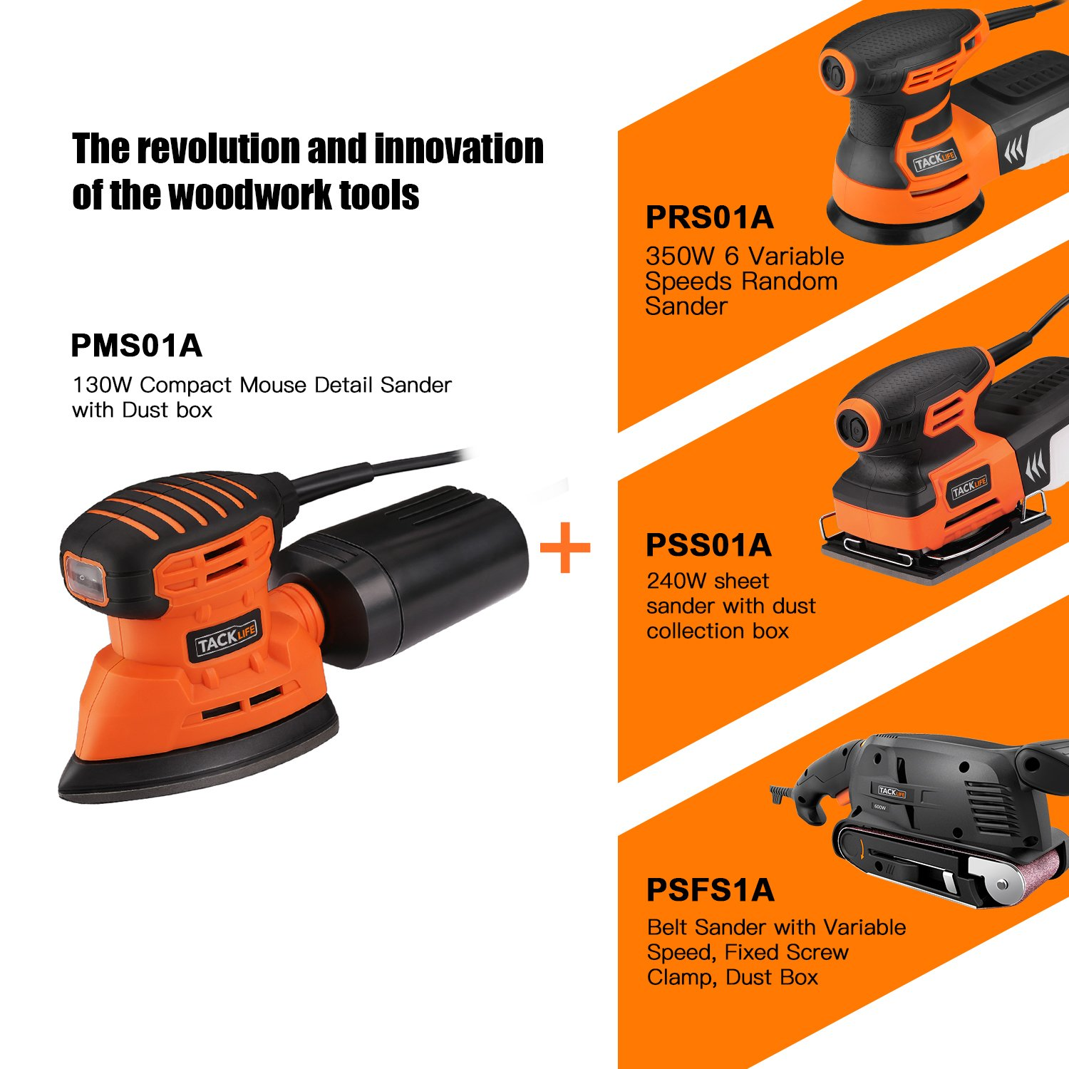 Mouse Detail Sander with 12Pcs Sanderpaper, 12000 OPM Sander with Dust Collection System For Tight Spaces Sanding in Home Decoration, DIY by TACKLIFE (Image #7)