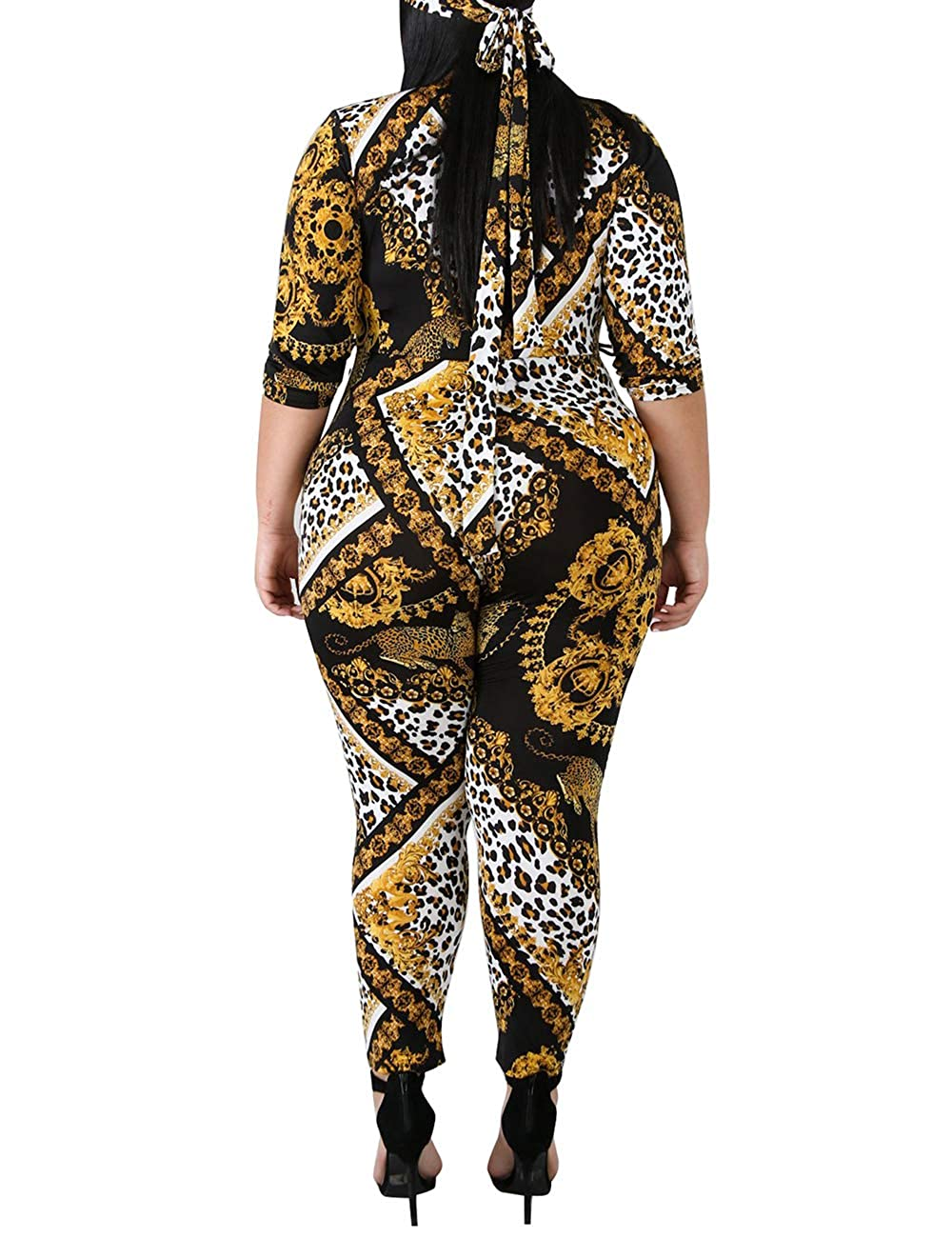5cbbb2ace15 Amazon.com  Rela Bota Women s Plus Size Printed Deep V Neck Skinny Jumpsuit  Rompers Clubwear  Clothing