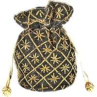 Women's Hand Embroidered Potli Wallet Soft Velvet Fabric Single Potli Bag