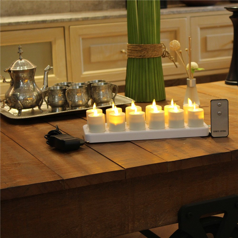 NONNO&ZGF 3D LED Dancing Light Votive Candles with Rechargeable Base and Remote - Set of 12 by NONNO&ZGF (Image #2)