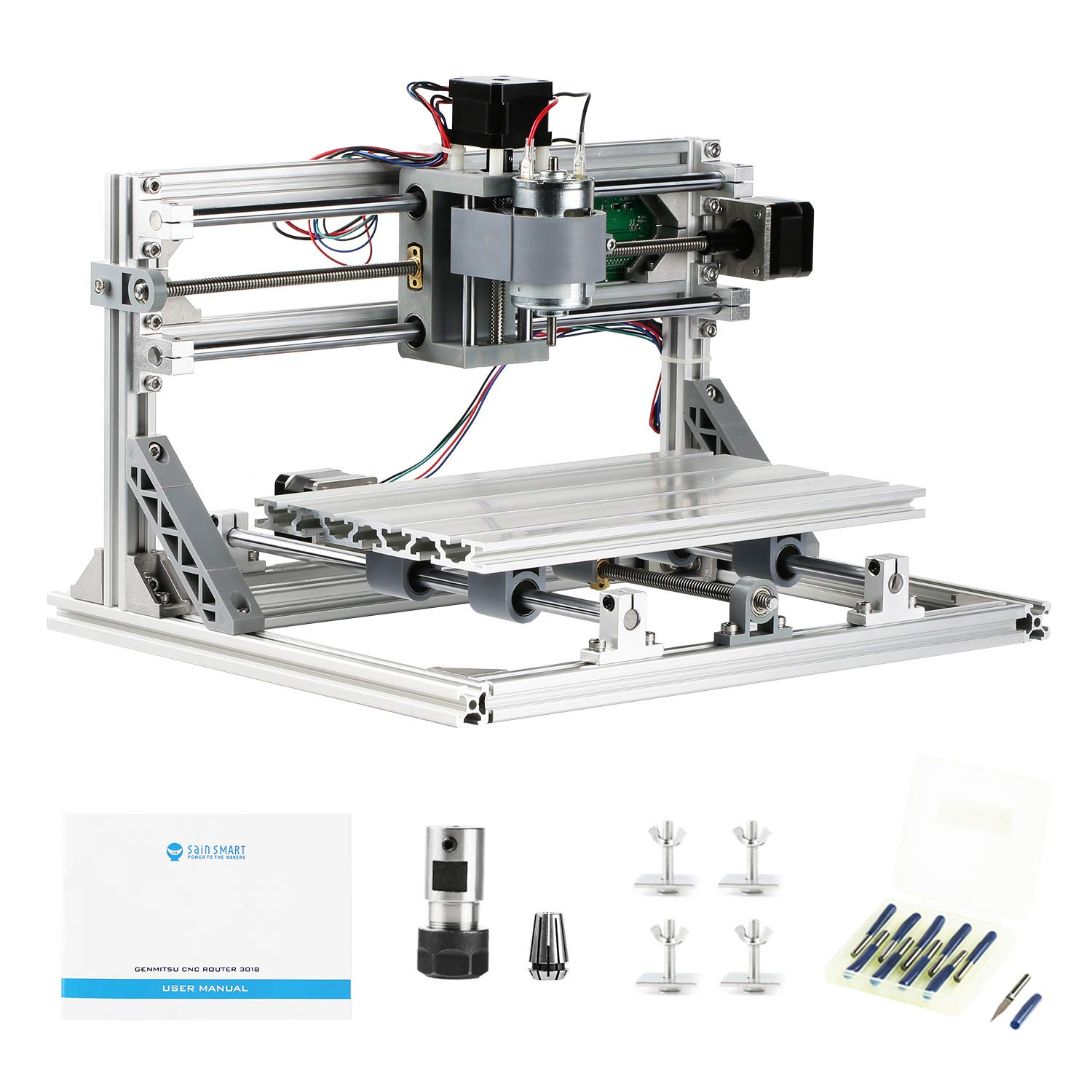 Sainsmart Genmitsu Cnc 3018 Router Kit Grbl Control 3 Axis Plastic Pcb Cutting Machine Sewing Modification Electronics Projects Acrylic Pvc Wood Carving Milling Engraving Xyz Working Area 300x180x45mm