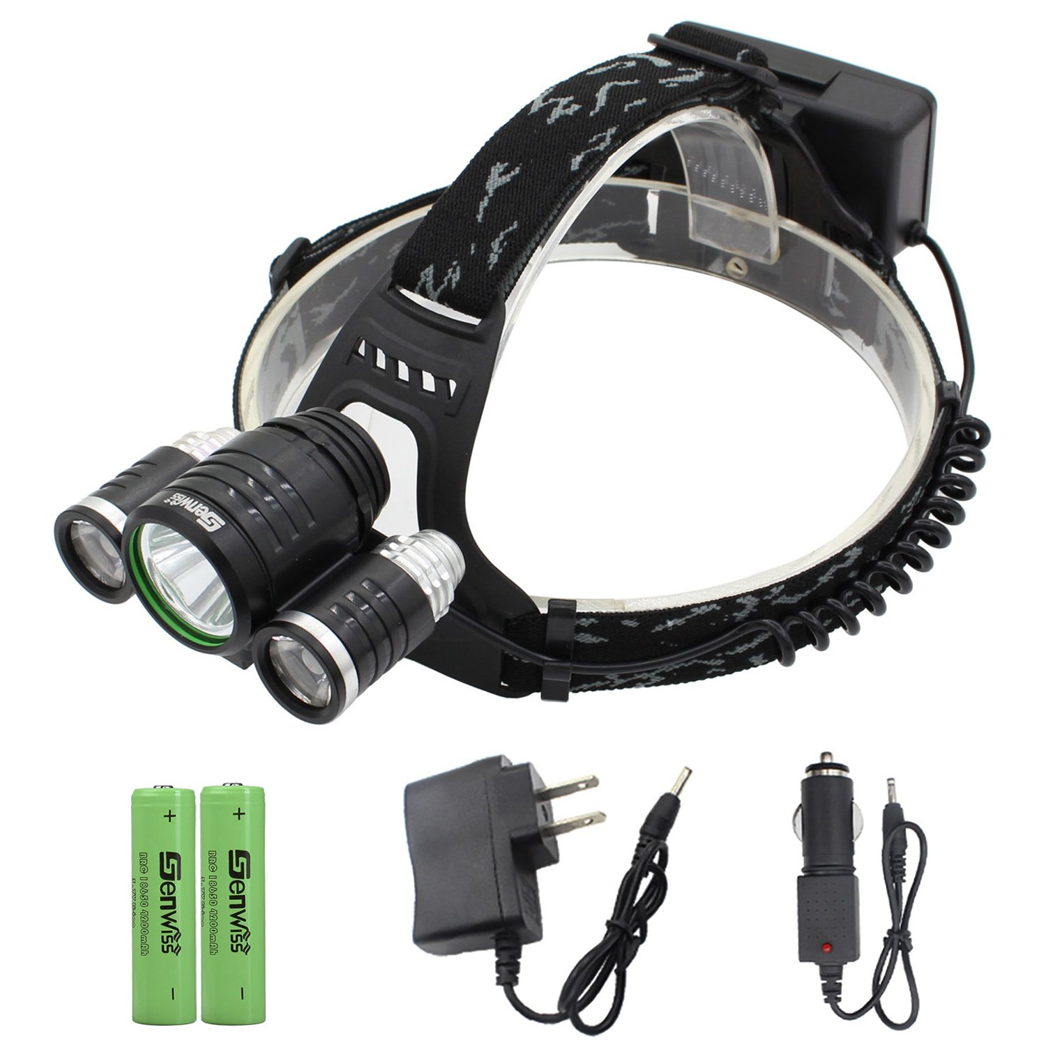 Genwiss 2 in 1 Super Bright 5000 lumen 4 Modes XML-T6 XPE R2 LED Headlamp Headlight &Bike Bicycle Flashlight for Camping Biking Working Hunting Fishing Riding Walking(With Batteries and charger)