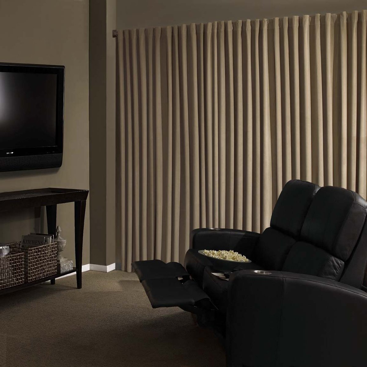 Amazon.com: Absolute Zero 11718050X084CA Velvet Blackout Home Theater  50 Inch By 84 Inch Single Curtain Panel, Cafe: Home U0026 Kitchen