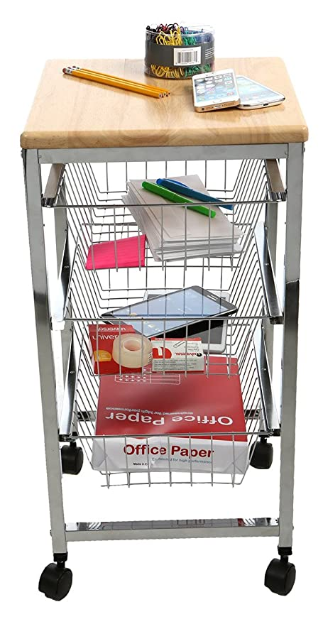Mind Reader 3 Tier All Purpose Utility Cart With Wheels, For Office,
