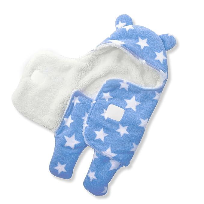 Hoymn - Saco de dormir con capucha para bebés y recién nacidos, para otoño e invierno (de 0 a 1 año) azul azul Talla:0-3 meses: Amazon.es: Bebé