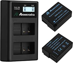 Powerextra 2 Pack Replacement Panasonic DMW-BLC12 Battery and Smart Dual USB Charger with LCD Display for Panasonic Lumix DMC-FZ200, DMC-FZ1000, DMC-G5, DMC-G6, DMC-G7, DMC-GX8, DMC-G85, DMC-GH2